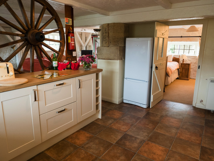 Kitchen in Dairy. Self catering for large group holidays in Devon